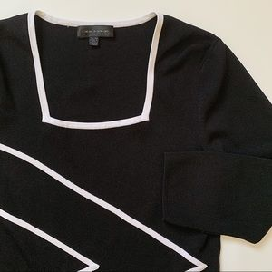 Cable & Gauge square neck light knit top
